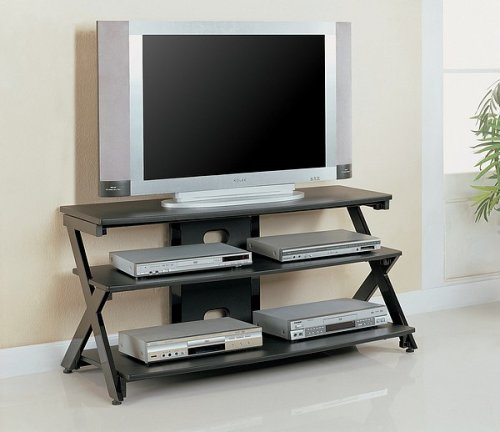 Cheap Contemporary Black Finish Metal Plasma Flat Panel TV Stand (VF_700104)
