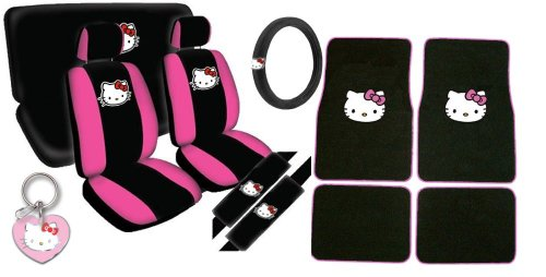 15pc Grey Dragon Car Seat Cover Steering Wheel Glove Floor Mat Seat Belt Pad Set