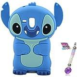 Bleu 3D Disney Stitch Étui Coque En Silicone Pour Samsung Galaxy S3 Mini i8190 + Charme de téléphone