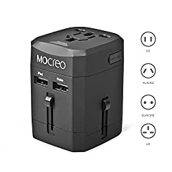 MOCREO Two USB Ports Universal World Wide All-in-one Safety Travel Charger Wall Charger Adapter Plug Built-in 2.1A Dual USB Ports For Home Use-Safety Fuse Protection (Black)