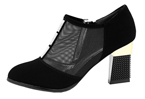 Guqitianlun Women Summer Breathable Mesh Three Pieces of Square Crystal Chunky Heels Dress Sandals(8 B(M)US, Black)