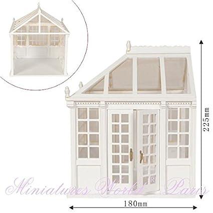 Maison de poupées miniature - Jardin d'hiver conservatoire en bois blanc