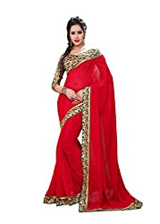 Fashion205 Women Faux Georgette Saree (OCO-AR8-1070_Red_Red_Free Size)