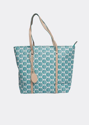 Canvas Anonymous Co. Teal Striped Polka Canvas Tote (White)