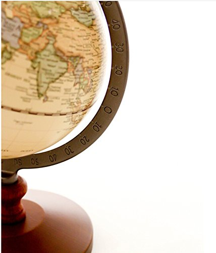 "KiaoTime Vintage World Globe Antique Decorative Desktop Globe Rotating Earth Geography Globe Wooden Base Educational Globe Wedding GIFT 8.25""x 5.75"" 3"