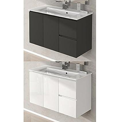 Mobile Arredo Bagno da 80 cm sospeso con lavabo ceramica bianco lucido grigio talpa