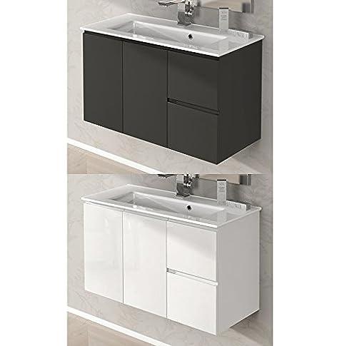 Mobile Arredo Bagno Omega da 80 cm sospeso con lavabo ceramica bianco lucido grigio talpa
