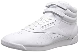 Reebok Women\'s Freestyle Hi Lace-up Fashion Sneaker,White/White/White,8.5 M US
