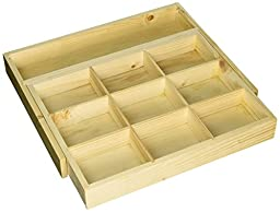 Desk and Drawer Organizer, Junk and officer drawer expandable organization tray natural wood, Axis