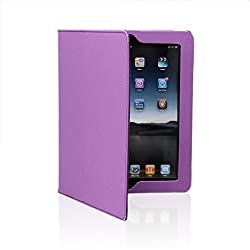 SAVEICON PU Folio Leather Case Cover with Built-in Stand for Apple iPad 1 1st Generation-Purple