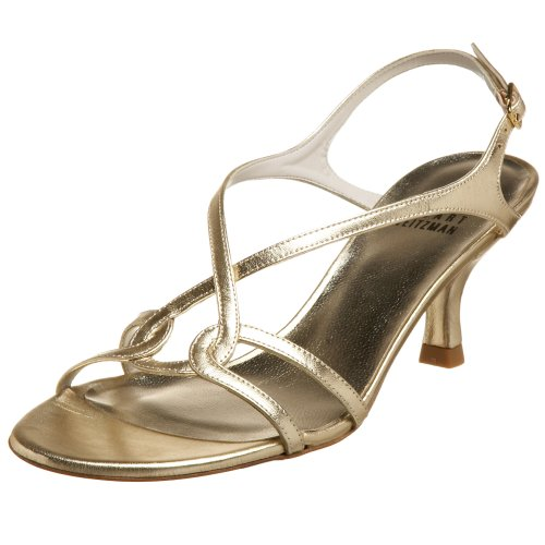 Stuart Weitzman Women's Reversal Sandal,Gold Supple Kid,10 N US