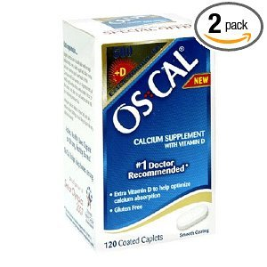 Os-Cal Calcium Supplement With Vitamin D Bottles, 120 Coated Caplets(Pack Of 2)