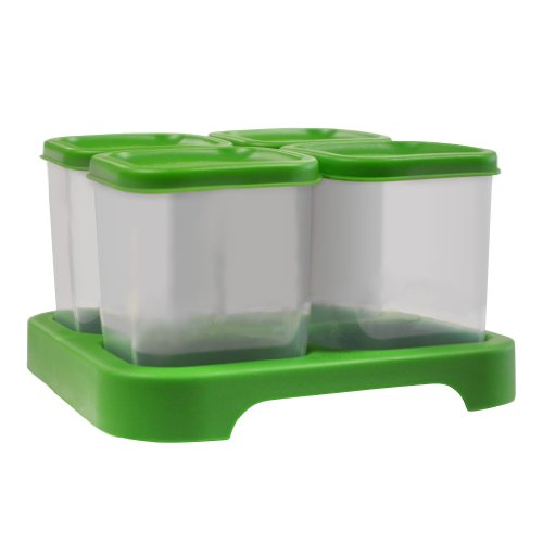 green sprouts 4 Count Polypropylene Baby Food Storage Cubes Green 4 Ounce