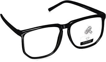 Amazon.com: Large Square Clear Lens Black Frame Wayfarer