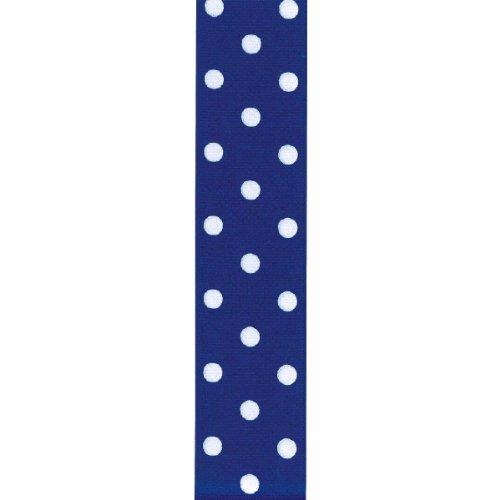 Offray Grosgrain Polka Dot Craft Ribbon, 1 1/2-Inch x 9-Feet, Royal Blue