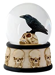3.5 Inch Cold Cast Resin Raven on Skull Water Snow Globe Skull Theme by Summit