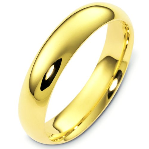 14K Yellow Gold, Comfort Fit Wedding Band 5MM (sz 10)