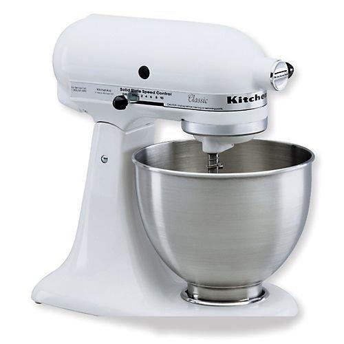 KitchenAid KSM75WH Classic Plus Tilt-Head 4-1/2-Quart Stand Mixer, White