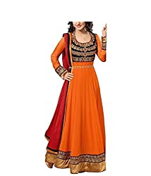 HK Trading Women's Georgette Unstitched Dress Material (MHARI28300117490_Orange_Free Size)