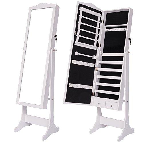 dxp schmuckschrank spiegelschrank standspiegel wei spiegel deko 156 x 41 x 38 cm jcyj07. Black Bedroom Furniture Sets. Home Design Ideas