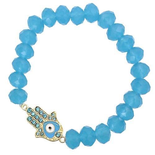 Hamsa Blue Crystal Stretch Bracelet