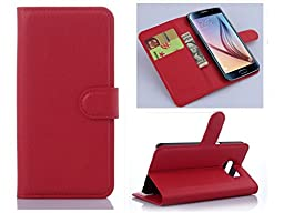 Samsung Note 5 Flower Wallet Case-Aurora® Red Samsung Note 5 TPU Leather Wallet Card Slot Cover with Strap and Kickstand for Samsung Galaxy Note 5