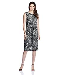 Chemistry Women's Modal A-Line Dress (C16-674WDKDR_Foliage Print black_Large)