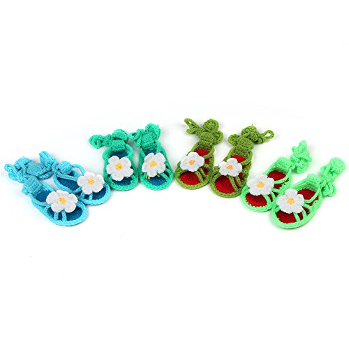 Elee 4 Pairs Flower Handmade Crochet Prewalkers Baby Girl Lace-Ups Sandals Crochet Crib Toddler Shoes Photo Props front-853392