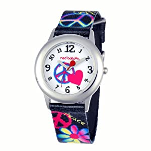 Red Balloon Red Balloon Peace, Love & Happiness Tween Stainless Steel children's quartz Watch with white Dial analogue Display and black fabric Strap W000340