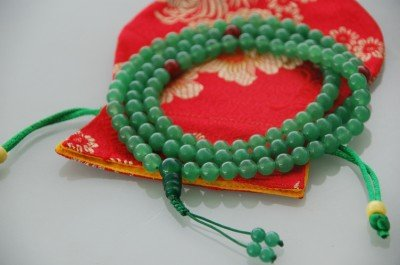 Green Jade Mala with Agate Spacer for Meditation with Handmade Silk Bag