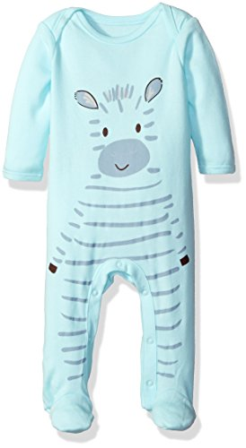The Children's Place Girls' Zebra Sleep and Play Romper, Crystal Mint, 3-6 Months
