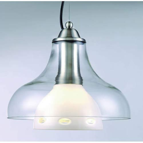 Lite Source Ls-1488 Opal Double-Glass Pendant Lamp With Oval-Cut Glass front-986925