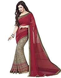 Arth Fashion Women's Georgette printed Saree With Blouse Piece (AYESHA12_Red_FreeSize)