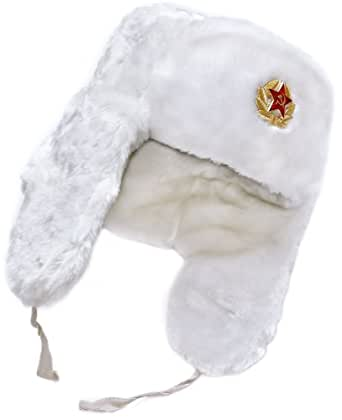 White Winter Hat with Earflaps: Russian Ushanka. Size 54, with Soviet Red star insignia