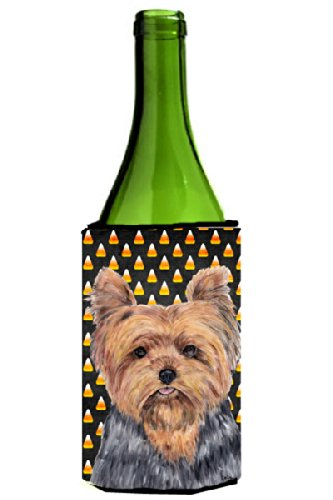 Yorkie Candy Corn Halloween Wine Bottle Beverage Insulator