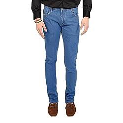 Club Vintage Mens Slim Fit Jeans(CVJN_Round.Pkt_LB34_Sky Blue_34)