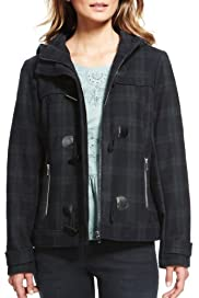 Indigo Collection Checked Duffle Coat with Wool [T66-6529-S]