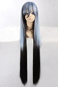 100cm de deux sonoritšŠs Kanekalon longue perruque cheveux synthšŠtiques 2 couleurs mšŠlangšŠes, bleu et noir