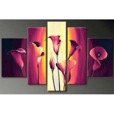 [Sangu 100% Hand Painted Wood Framed 5-piece Lily In Full Bloom for Abstract Oil Paintings Gift Canvas Wall Art Paintings For Living] (Grandma Moses Costume)