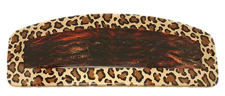 France Luxe Inlay Squared Oval Barrette - Wild Cat/Mojave