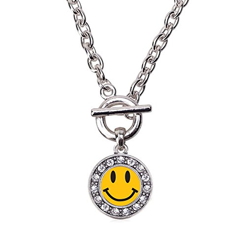 Inspired Silver Smiley Face Circle Charm Toggle Necklace Clear Crystal Rhinestones