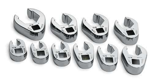 SK 4508 SuperKrome 10 Piece 3/8-Inch Drive 3/8-Inch to 1-Inch Flare Nut Crowfoot Wrench Set