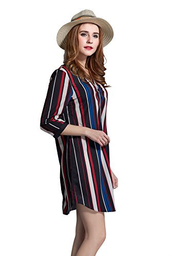 Ochanal Women's V-Neck Striped Chiffon Long Sleeve Bow Tops T-Shirt Blouse 3X