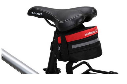 Black & Red reflective trim seat / saddle bag for cycling (bike / bicycle) plus KLOUD cleaning cloth