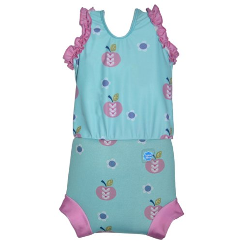 [Splash About Happy Nappy Costume (Neoprene Swim Nappy) (Apple Daisy, Small (0-4 months))] (0-3 Month Swimming Costumes)