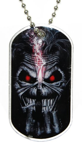 Iron Maiden Eddie Candle Finger Dog Tags Chain Necklace Album Cover Fan Official