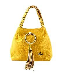 Naughty Walk Glitzy Blue Leather Handbags (Yellow)