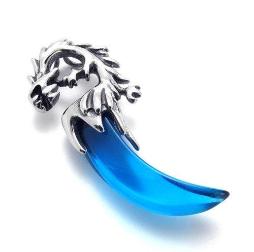 Atlas Jewelry Silver Blue Tone Stainless Steel Dragon Canine Pendant Necklace THREE Assorted Matching Chains FREE GIFT BOX