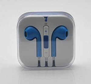RainbowMOBO Stereo Earpods Earbuds Earphones Headphone Headset with Mic and Remote for Apple iPad3/2/1 iPhone 5 / 4S / 4G / 3GS / 3G Ipod Touch 5 Ipod 5th Ipod Nano 7 BLUE