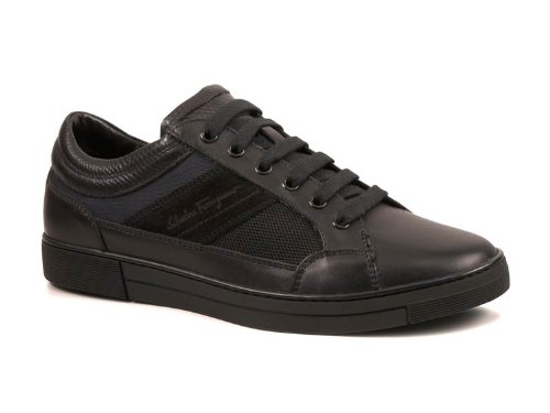Sneakers Ferragamo uomo in pelle tessuto nero